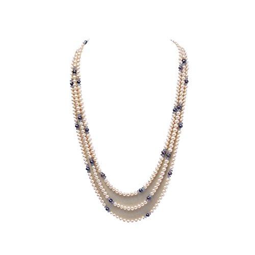 jyx 6-7mm weiß rund Süßwasser Perlen alternierendes mit Blue Pearl und facettierten Kristall Halskette (Großhandel Kostüm Schmuck Perlen)