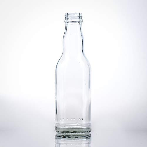 Flaschenbauer - 20 leere kleine Kropfhals Glasflaschen mit Schraubverschluss 200 ml zum selbst Befüllen als Saftflaschen, Sirupflaschen, Likörflaschen - mit 28 MCA Verschluss