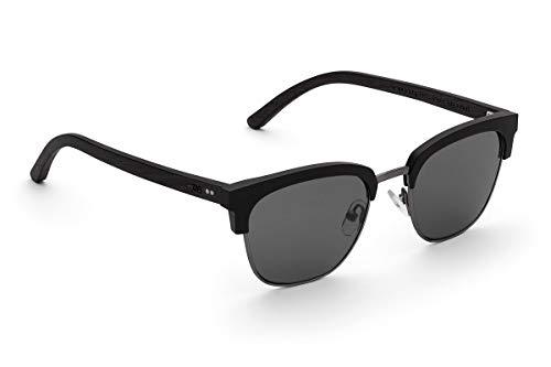 TAKE A SHOT - Halbrahmen Holz-Sonnenbrille unisex, Holz-Bügel mit Metall-Kunststoff-Rahmen, UV400 Schutz, rückentspiegelte Gläser, Jordan
