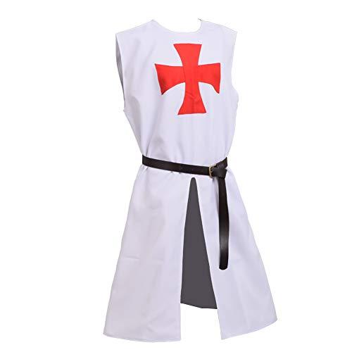 lich Herren Kreuzritter Ritter Tunika Wikinger kostüm (Weiß 1) ()