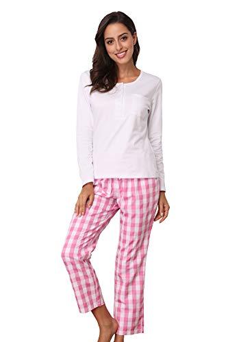 e8bc2d274fe3 MEMORY BABY Donna Pigiama Due Pezzi Top Maniche Lunghe Button Up Plaid  Pantaloni Camicia da Notte