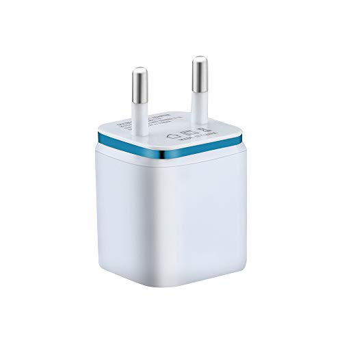 USB Ladegerät,5V/2A USB Netzteil,2 Port Schnelles Ladekopf, EU Stecker Wandladegerät für Smartphones, Samsung Galaxy, HTC,Huawei, LG,Nexus, Nokia,iPhone (Blau) -