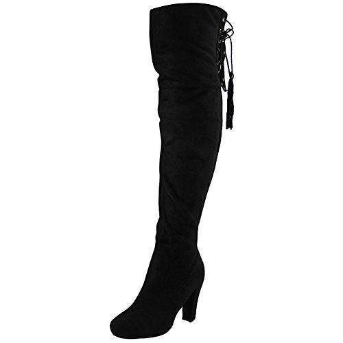 Damen Stiefel Overknee, Spitz, Blockabsatz, Größe 34 - 40 Schwarz