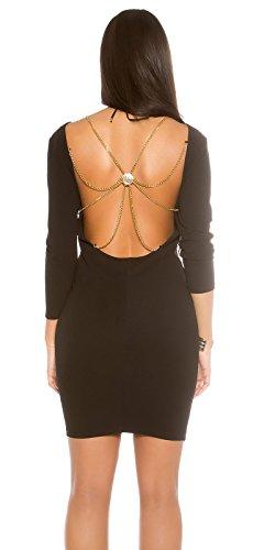 Rückenfreies Cocktail-Minidress mit abnehmbarer Glamour-Kette Schwarz