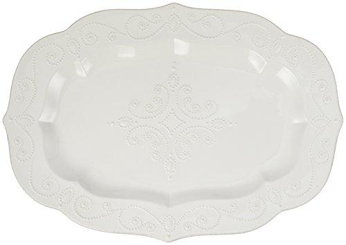 Lenox Schüssel mit Fuß, französische Perle, Weiß Servierplatte, groß 18.5