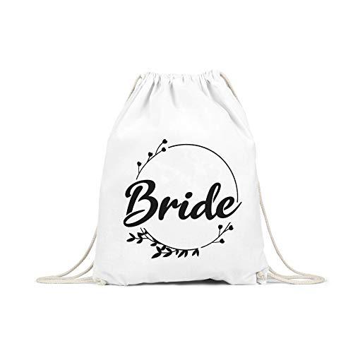Liebtastisch - Bride - Junggesellinnenabschied - JGA - Turnbeutel - Frauen - Beutel - Rund - Gym Bag - Blumen - (Weiss)