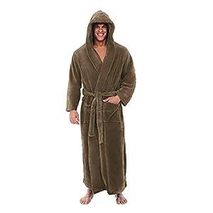Dasongff Bademantel für Damen und Herren mit Kapuze, Extra Lang, Hausmantel, Morgenmantel, Saunamantel, mit Bindegürtel Schlafanzug Pyjama Nachtwäsche