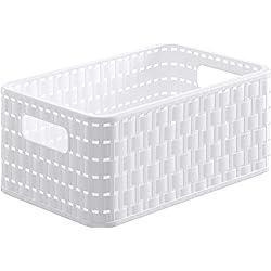 SUNDIS 1152002 Panier Aspect Rotin Avec Poignées, Plastique, Blanc, A5