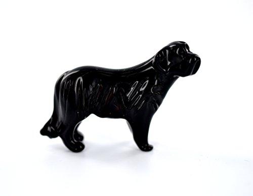 Hund Schwarz - Figur aus Glas Neufundländer Stehend -b8-9-16- Glasfigur Glastier Deko Vitrine Setzkasten schwarzer Rassehund -