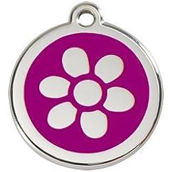 Médaille Chien RED DINGO Fleur Violette 30mm