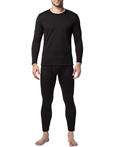 LAPASA Herren Innenfleece Thermounterwäsche Set Thermounterhemden Thermo-Unterhosen verdickte Ski Funktionsunterwäsche für Winter M24 (Medium(Taile 81-86cm,Ärmel 58cm), Schwarz- Black Set) MEHRWEG