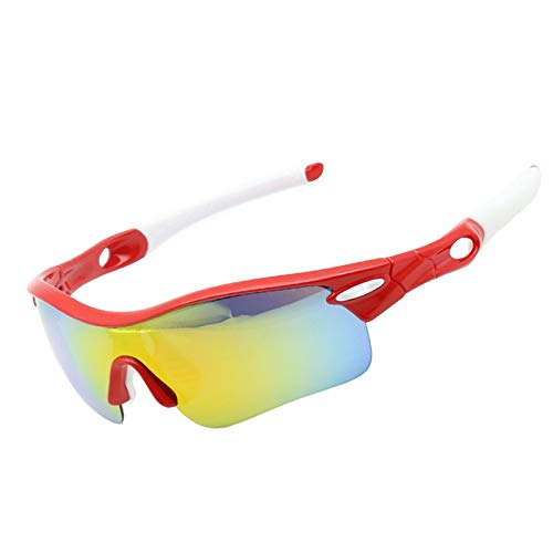 Preisvergleich Produktbild Radbrille Nacht Sportbrille Mit Wechselgläsern Reitbrille Polarisierter Fünfteiliger Anzug Sportfischen Bergsteigen Nachtsichtlauf Uv Schutz Red White+5 Lens Kit Damen Herren