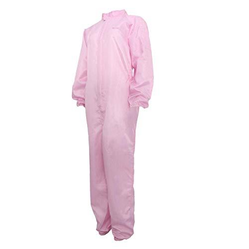 Set tuta da lavoro, tuta da lavoro, tuta antipolvere con cerniera anteriore, traspirante, abbigliamento da lavoro, rosa