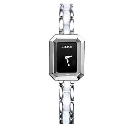 binlun Damen Original Schweizer Quarz Elegante kleine quadratisch schwarz Zifferblatt 30m wasserabweisend Armbanduhr