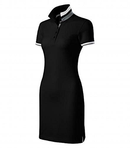 Malfini Kleid Dress Up Damen Baumwolle Damenkleid Polokleid mit 2 Knöpfen (XXL, schwarz) -