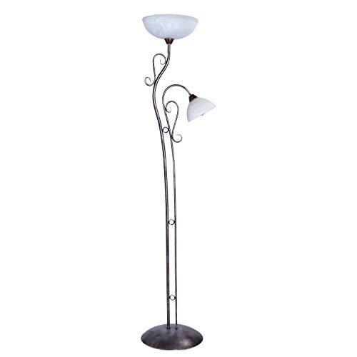 MW-Light 323042902 Lampadaire Sur Pied Classique en Métal Brun Argenté avec 2 Lampes en Verre Mat pour Salon Chambre à Coucher Couloir Haut.170Cm 2x40W E27
