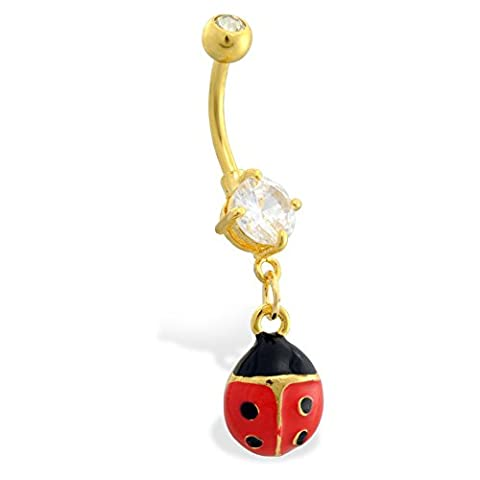 MsPiercing Gold Plated Belly Button Ring With Dangling Ladybug, Red - A