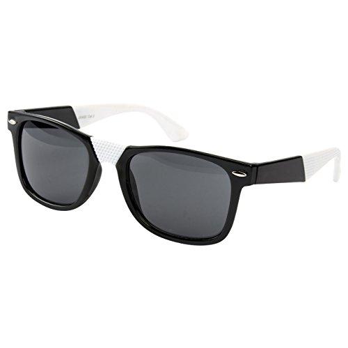Ciffre Nerdbrille Sonnenbrille Stil Brille Pilotenbrille Vintage Look Schwarz Weiß Teil gummiert S10