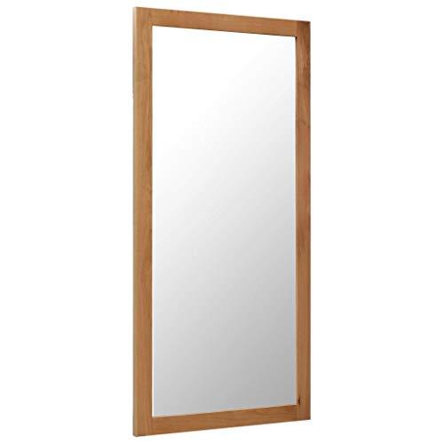 Festnight- Spiegel Wandspiegel Holz Badspiegel Ankleidespiegel Garderobenspiegel 60 x 120 cm Massivholz Eiche