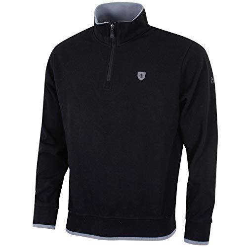 Insel Grün Herren Golf Half Zip Bonded Knit Windshirt - Schwarz - XXL -