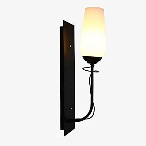 ZSAIMD Vintage Nacht Eisen Wandleuchte Metall Room Art Decor Glas Laterne Wand Glas Laterne schwarz Finish Leuchten Beleuchtung Top-Qualität for Haus und Hotel Innenbeleuchtung Lampe E14