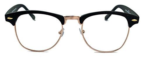 50er Jahre Retro Nerd Brille Halbrahmen Hornbrille Clubmaster Stil Rockabilly Streberbrille (Matt Schwarz / Gold)