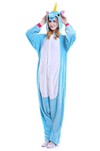 Tuopuda Kigurumi Einhorn Pyjamas Erwachsene Unisex Onesie Tier Cosplay Kostüm Halloween Jumpsuit Schlafanzug (L ( 168-177 cm height), Blau) (Die Unglaublichen Kostüme Für Erwachsene)