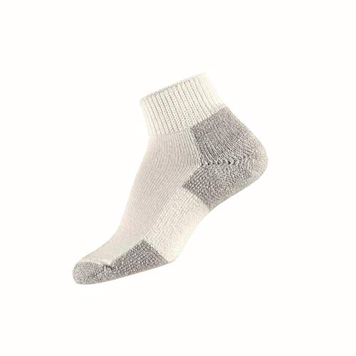 Komfort Low Quarter Sock (Thorlos Mens Running Thick Padded Ankle - Low Cut Socks JMX, White/Platinum, Medium (Shoe Size 5.5-8.5))