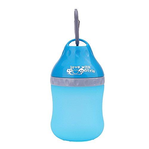 SuperDesign portátiles al aire libre para perros de viaje de agua dispensador de melamina agua plegable bebiendo alimentador botella para perro mejor regalo azul claro