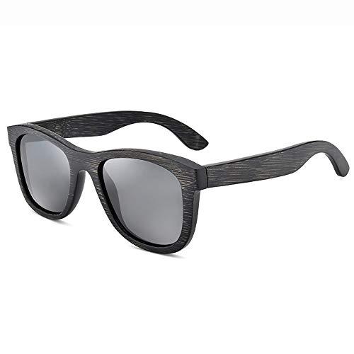 Polarisierte Sonnenbrille, UV400 Bamboo Eyewear HD Beschichtung Gläser True Colors Unisex beim Fahren Angeln Radfahren Wandern Golf (Color : Gray)