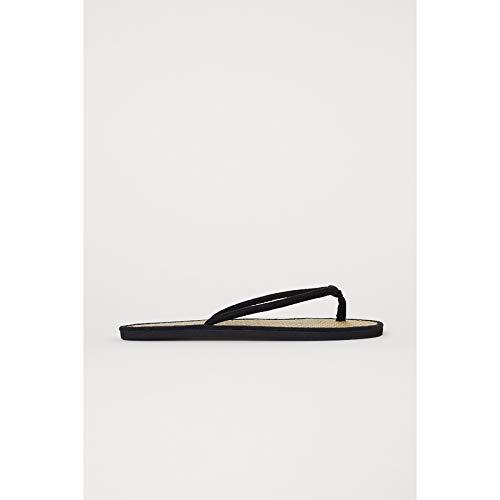 Shukun Infradito da donna Scarpe da Donna Pantofole Fashion Temperament Suede con Infradito di Fondo in Paglia,40,Nero