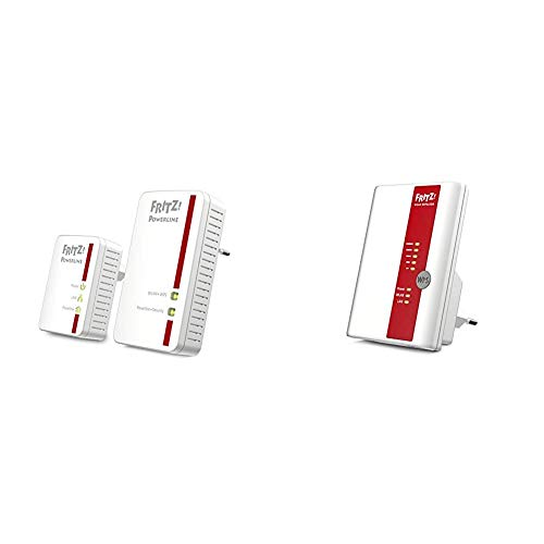AVM FRITZ!Powerline 540E / 510E WLAN Set (500 MBit/s, WLAN-Access Point, Fast-Ethernet-LAN), deutschsprachige Version & FRITZ!WLAN Repeater 450E, weiß,  deutschsprachige Version