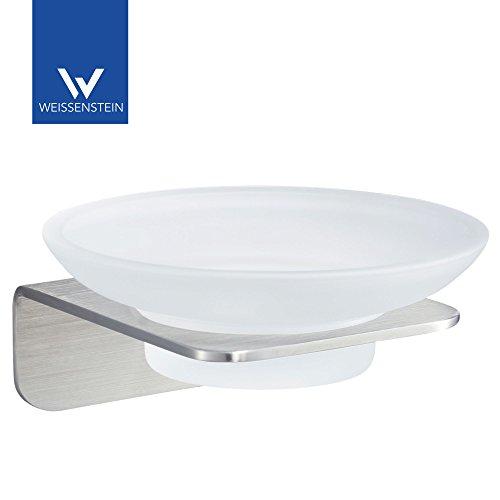 WEISSENSTEIN Seifenschale ohne bohren | Seifenhalter und Seifenablage zum kleben mit Glasschale | Seifenhalterung aus Edelstahl rostfrei matt gebürstet | 11 x 10 x 6 cm