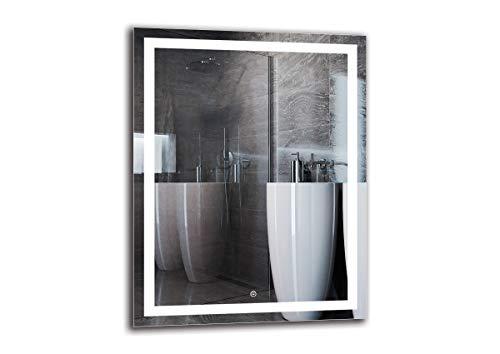 Espejo LED Deluxe - Dimensiones del Espejo 70x90 cm - Interruptor tactil - Espejo de baño con iluminación...