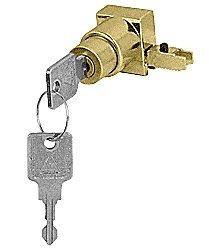 CRL Satin Brass End Cap Sliding Door Lock - Keyed Alike