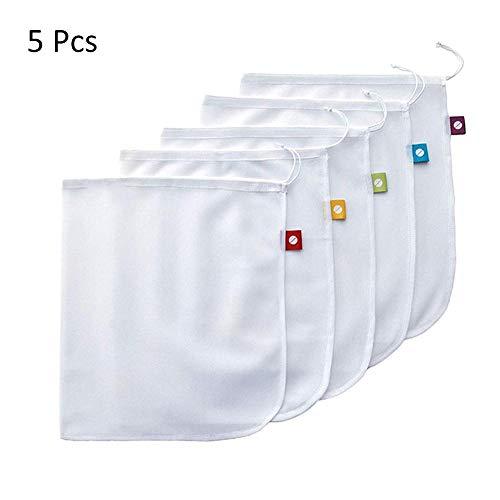 5 Stück Premium wiederverwendbare Seil Mesh Producting Bags Kitchen Obst Gemüse Spielzeug Aufbewahrungstasche Beutel Beutel Kordelzug Mesh Einkaufstasche -