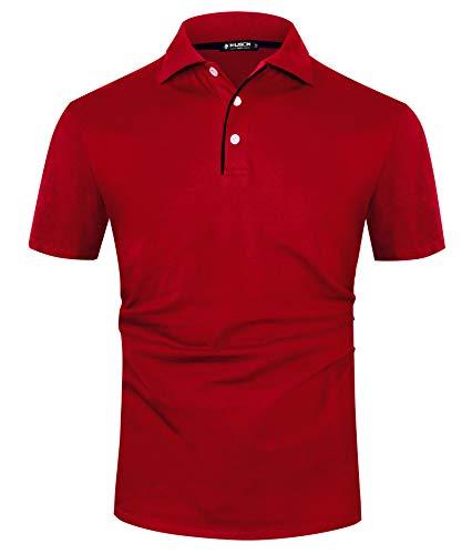 Kuson Herren Poloshirt Kurzarm Patchwork Sommer T-Shirt Men\'s Polo Shirt Baumwolle (XL, Rot)