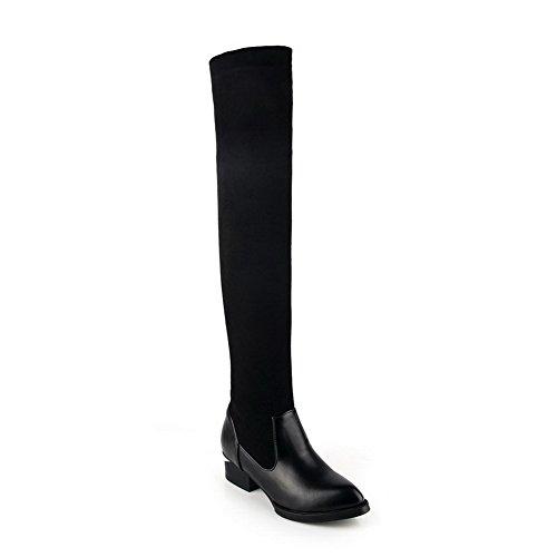 AgooLar Damen Ziehen auf Blend-Materialien Hoher Absatz Hoch-Spitze Stiefel, Schwarz, 36