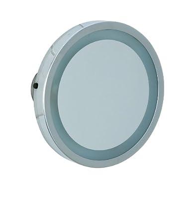 Wenko 3656450100 LED Leuchtspiegel Mosso - 3 Saugnäpfe, Spiegelfläche ø 11.5cm, 300% Vergrößerung, Stahl, 2.5 cm, Chrom