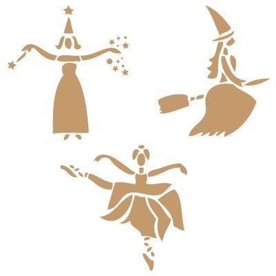 Stencil Deko Feier 002 Halloween Tanzende Hexen Stencil Grösse: 20x30 cm Design Grösse: 17,7x24,7 cm Figur Grösse 1: 9x10,6 cm Figur Grösse 2: 9,8x10,6 cm Figur Grösse 3: 11,4x10,9 cm