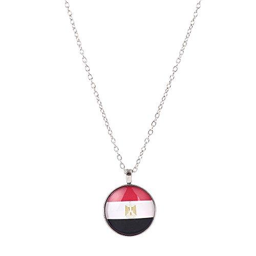 Baoblaze 1 Stück Flagge Muster Rund form Anhänger Lange Hals Schmuck Geschenk - Mehrfarbig Ägypten