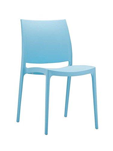 Chaise de jardin empilable en plastique bleu clair - 81 x 44 x 50 cm -PEGANE-