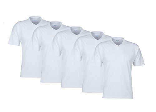 V Neck! 5 weisse Herren T-Shirt T-Shirts 100% Baumwolle Markenware TShirt Shirts T-Shirts für Herren Man Men sehr bequem T-Shirts V Ausschnitt (100% T-shirt Weißes Baumwolle)