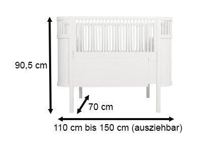 Babybett Kili, Birkenholz weiß 70×110 cm, Sebra Interior - 5