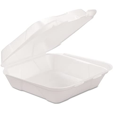 Foam Hinged Carryout Container, 1-Compartment, White by GEN-PAK CORP.