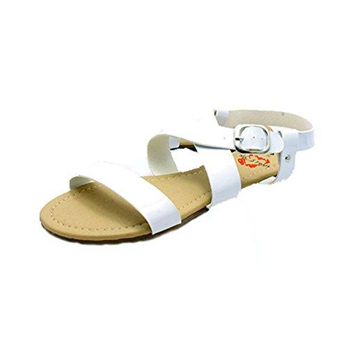 sendit4me Sandali Piatti Ladies Brevetto Gladiator Style Bianco
