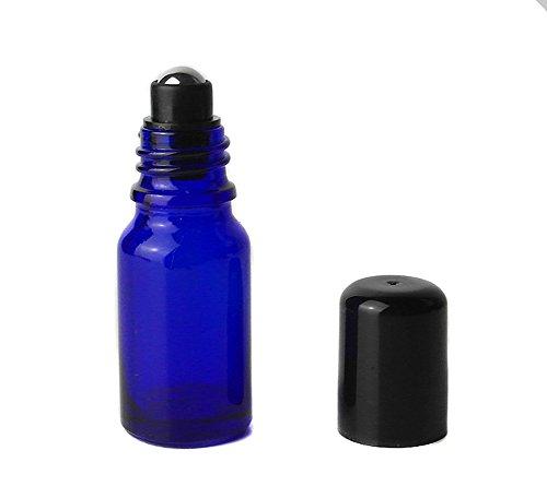 6PCS 10ml / 0.33oz leere nachfüllbare Glasrolle auf Flaschen ätherische Ölwalze Flaschen Fläschchenbehälter Topf Jar Attar Flasche mit schwarzer Mütze und Mental Roller Ball (Blau) 1 Unze Blauen Glasflaschen