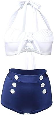 gigileer Mujer Vintage AÑOS 50Talle Alto Bikini Set Bañador beachwear-halterneck