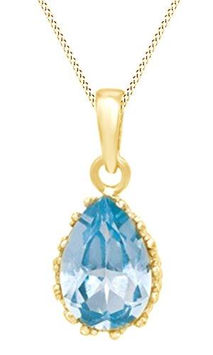AFFY  -  925 Sterling-Silber  18K gelbvergoldetes Silber Tropfenschliff   blau Aigue-marine  (Juwel Auf Der Krone)