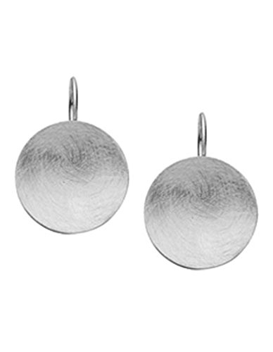 Nenalina Silber Damen-Ohrringe Ohrhänger mit Kreis, Runde Hängeohrringe Disk gebürstet 21 mm, 925 Sterling Silber, Ohrringe für Frauen und Mädchen, 324367-300